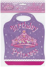 8 Birthday Princess Plastic Loot/ Party Bags